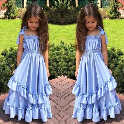 58d273c30becf Enfants enfants fille princesse longue robe sans manches à volants bleu  vêtements d été Halloween fête mariage reconstitution historique robes  formelles ...