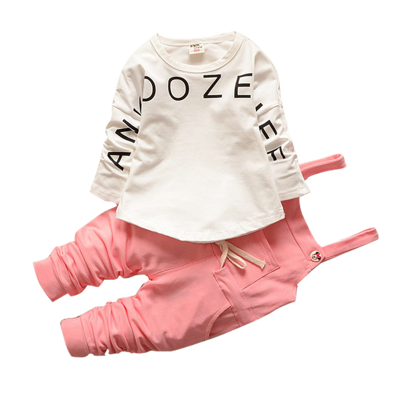 2017 new arrival Baby girls sets letter cotton strap suit Korea kids clothes child sets open