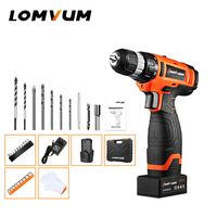 LOMVUM NEW 24V Impact Cordless Electric Drill Double Speed Handheld Screwdriver Impact Function Electric Tool lithium battery