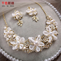 Gorgeous Crystal Necklace+Earrings Silk Floral Handmade Women Jewelry Bride necklaces pearl jewelry Wedding Accessories qiuya
