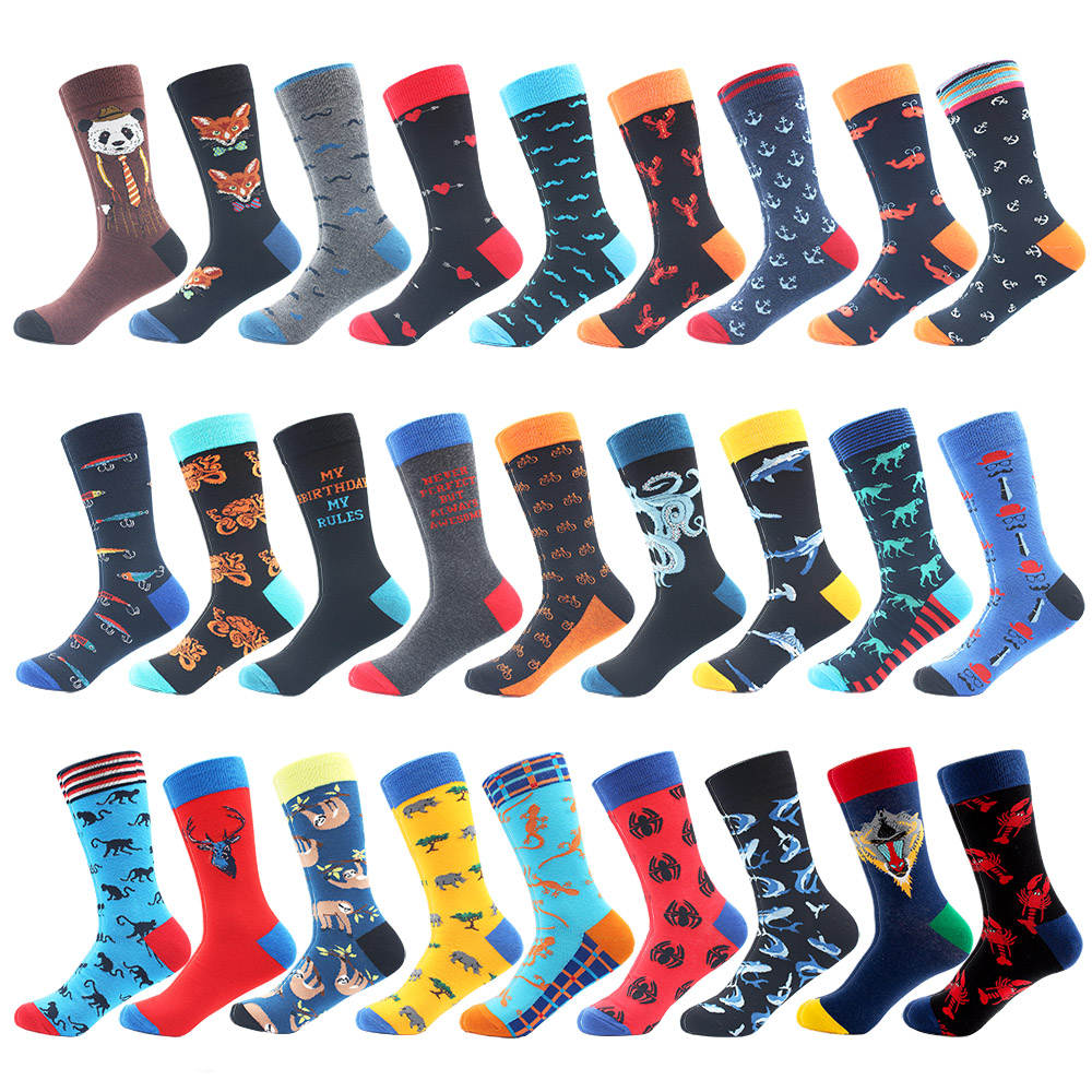 High Quality Combed Cotton Socks Animal Pattern Long Tube Funny Happy Men Socks Novelty Skateboard Crew Casual Crazy Socks