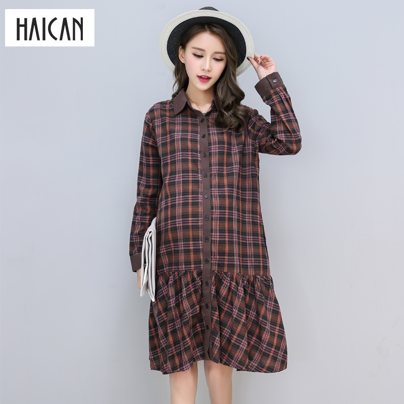 Summer Plaid Pregnant Dress for Pregnant Women Button Dress Long Sleeve Blouse Skirt Casual One-piece Maternity Clothes