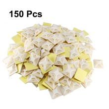 Uxcell 150pcs 29x29mm Self Adhesive Cable Tie Mounts Wire Base Fit 8mm Adjustable Fixing Holders White Yellow