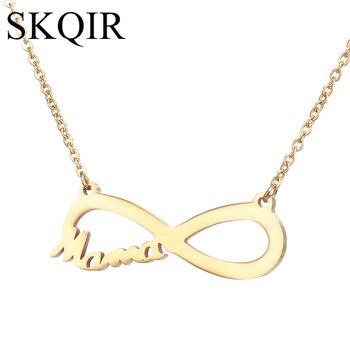 4f07496efc3c SKQIR moda amor mamá infinito personalizada colgante de collar para regalo  de las mujeres de oro de acero inoxidable de Color de gargantilla de cadena  de ...