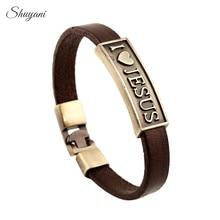 10PCS Shuyani Vintage Monogram Letter I Love Jesus Bracelet Bangle Male Prayer Christian Bracelet Leather Women Jewelry