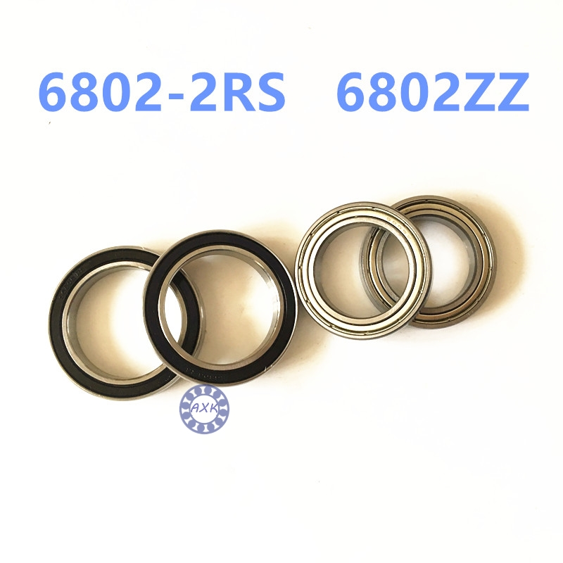 free shipping <font><b>6802RS</b></font> <font><b>bearing</b></font> 61802 Rubber sealed <font><b>bearing</b></font> Thin wall <font><b>bearing</b></font> 6802 6802-2RS 15*24*5mm chrome steel 6802ZZ 6802 2Z image