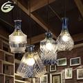 Современный Прозрачный Янтарный Цвет, Стеклянный Подвесной Светильник E27 Лампа Искусство Украшения Гостиная Ресторан Кафе-Бар Освещения