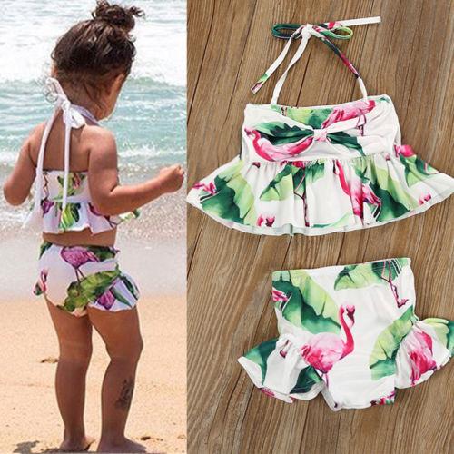 Newborn Kid Baby Girl Flamingo Tankini Swimwear Swimsuit Bikini Set Bathing Suit
