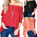 Women Off Shoulder Short Sleeve Blouse Casual Loose Tops Beach Shirt