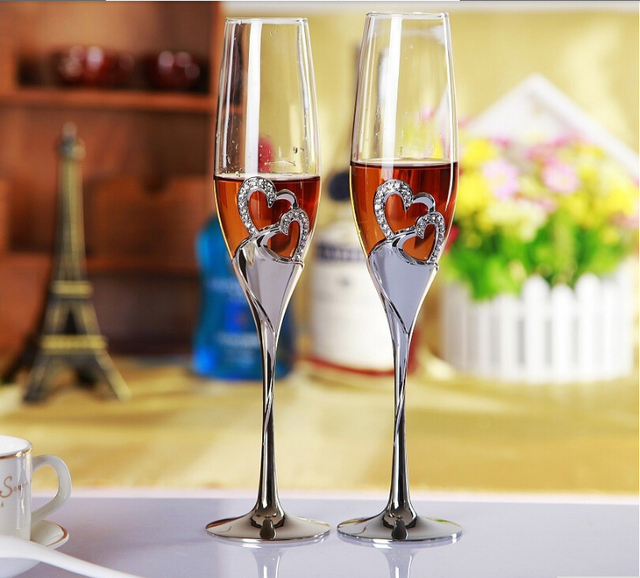 Silver Plated Stain Steel Metal Heart Shape Champagne Gl Flute For Weddings Or Party