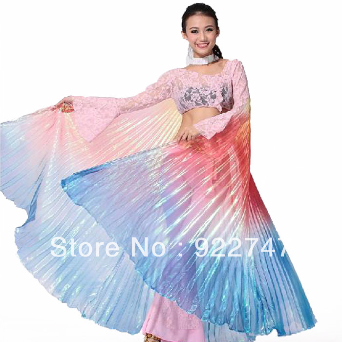 New Brilliant Professional Egyptian Egypt Isis Wings Belly Dance Dresses Gradient Colors ( no stick )