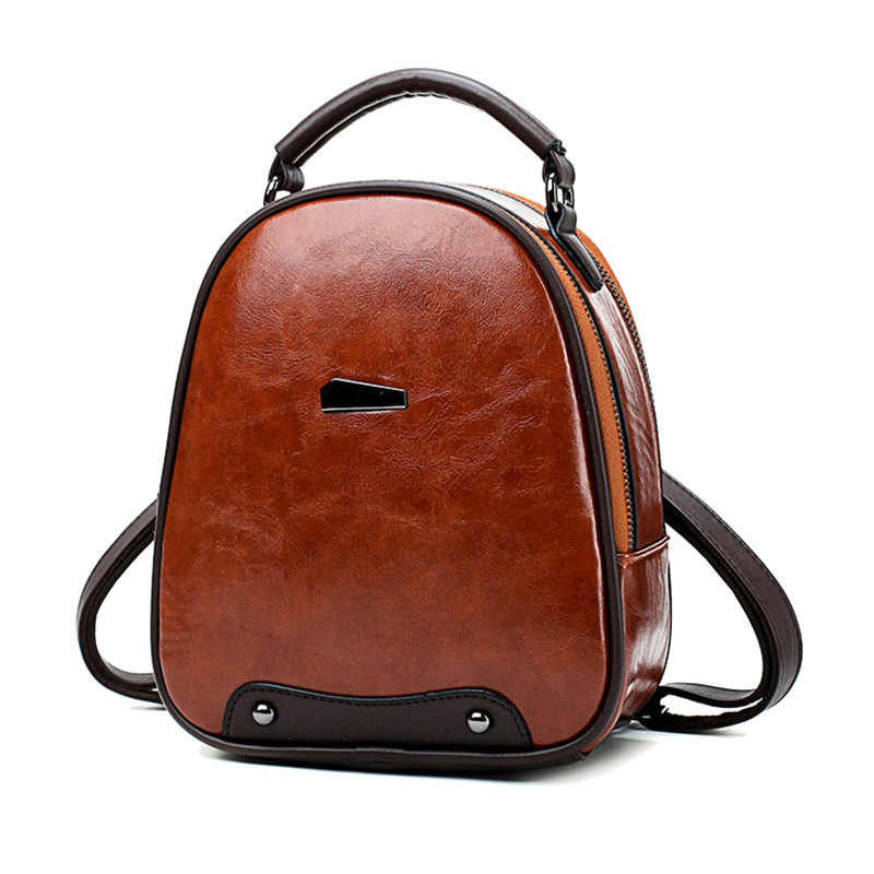 20a3841a7 Women Small Backpack Female Leather Backpack Ladies Rucksack Top-Handle  Daypack Double Pockets Design Women