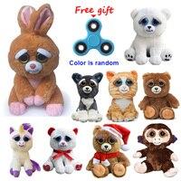 Feisty Evcil Değişim Yüz Komik Panda Köpek Freddy Bear Bunny tavşan Maymun Tembellik Dolması Hayvanlar Peluş Oyuncak Bebekler Için Bebek hediyeler