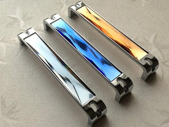 """6.3 """" grande vidro trata gaveta puxa Knob Chrome cinzento cinza azul âmbar de prata de cristal moderna armário porta do armário lidar com 160 mm"""