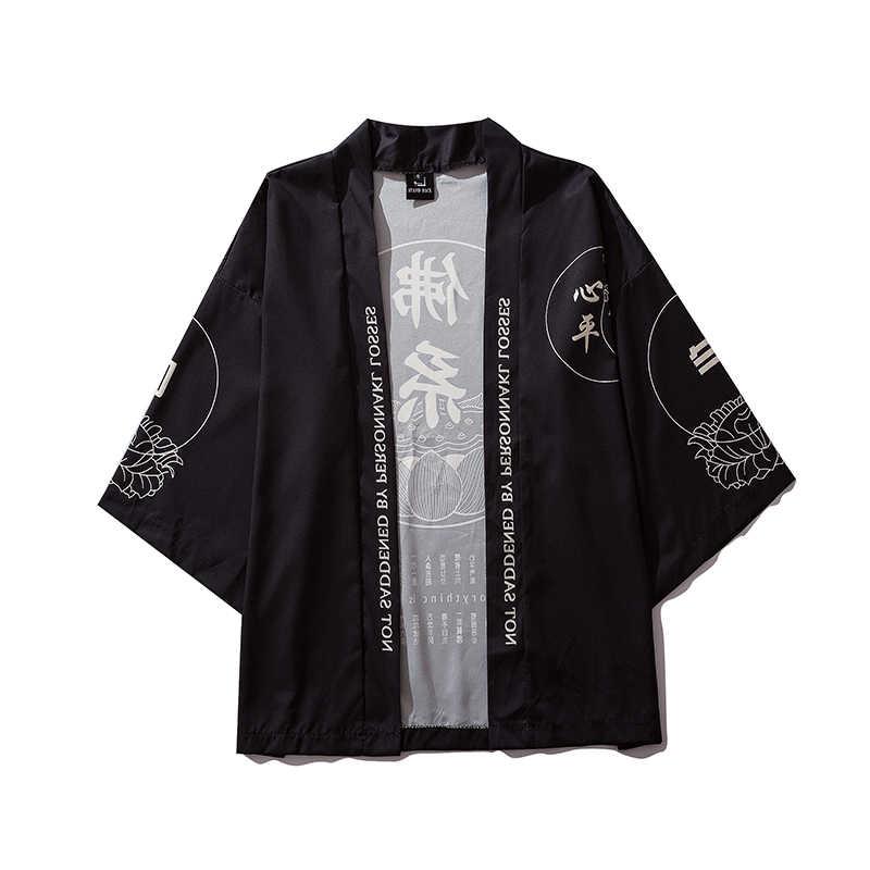 Été nouveau caractère chinois hommes Cardigan crème solaire veste mode imprimé mâle Harajuku Streetwear japonais Kimono vestes manteau