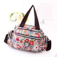 Floral Leisure Bag More Zippers Cute Cloth Rural Style Flower Handbag Nylon Lightweight Printing Crossbody for Women