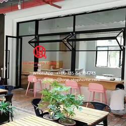 Алюминиевое Двухслойное окно, обеденный зал, стеклоподъемник, алюминиевая двухслойная оконная система плавно увеличивают открывающееся