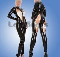 Черный с белым и плоть сексуальные латекс комбинезон с носками молния сзади резиновая облегающий костюм боди Зентаи
