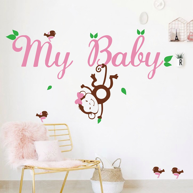 Large Original vinyl custom monkey name decals with birds for kids girl,personalized baby girl name wall stickers