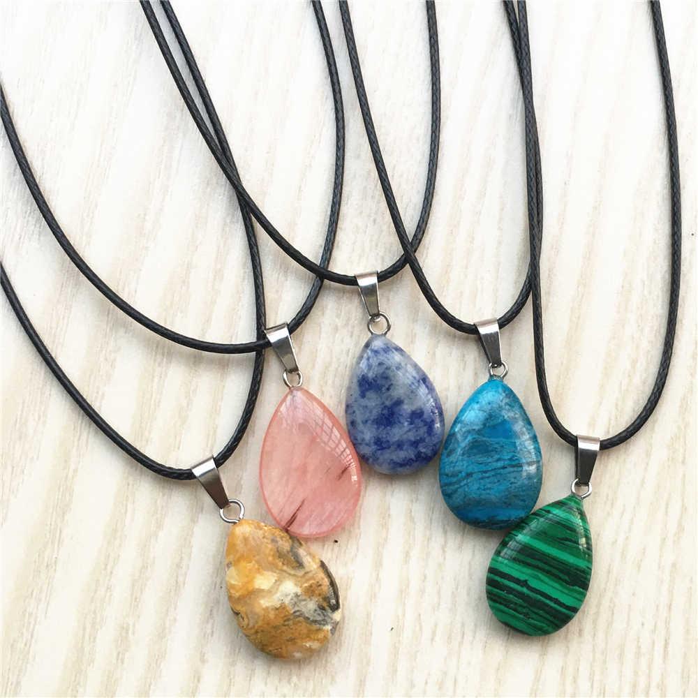 Супер предложение натуральный камень кристалл кварц опал капли воды кулон и ожерелье кожаные цепи для мужчин женщин ювелирные изделия один 1 шт