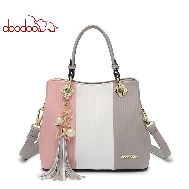 DOODOO fashion Ladies Fringe Colorblock Messenger Bag PU Leather Tote Bag Shoulder Messenger Bag Ladies Tote Bag metallic hasp pu leather tote bag