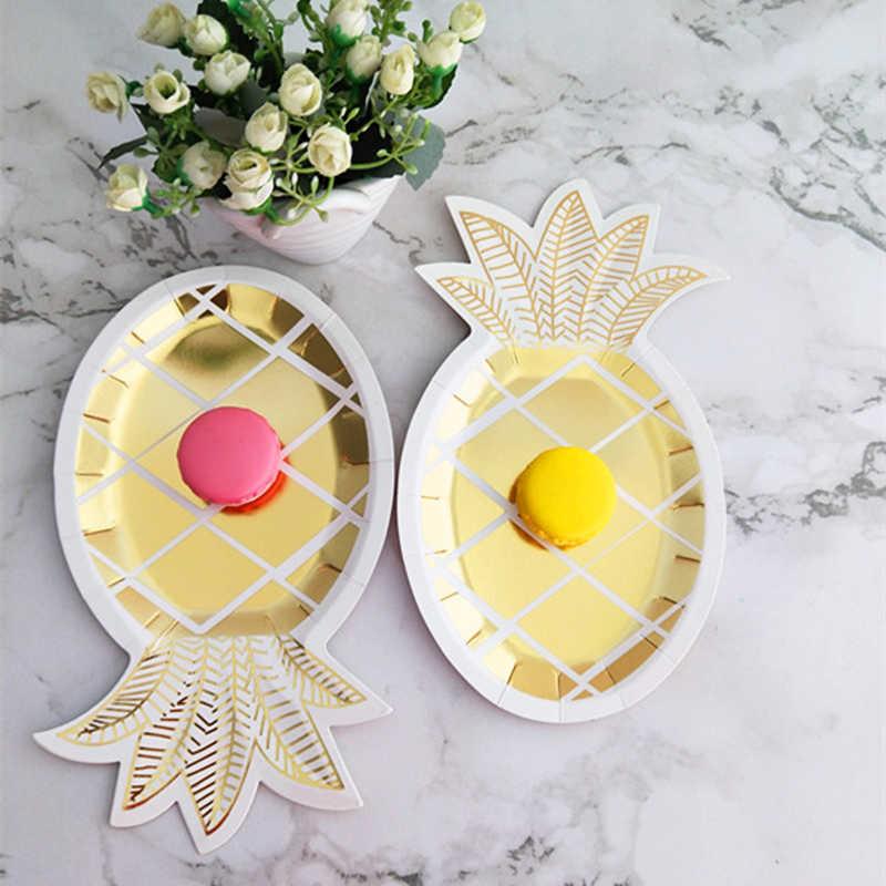 8 комплектов фольги золотые ананасы бумажные тарелки салфетки для стаканчиков соломинки вечерние Декор посуда День рождения Дети пользу ребенок душ вечерние принадлежности