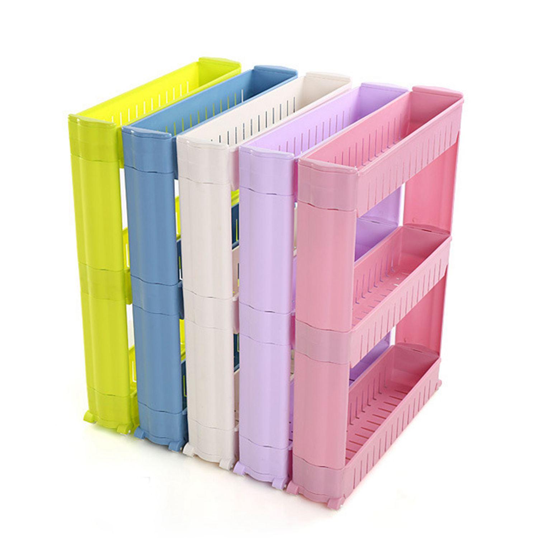 1/pcs Gap Kitchen Storage Rack Shelf Slim Slide Tower Movable Assemble Plastic Bathroom Shelf Wheels Space 3 layers High Quality