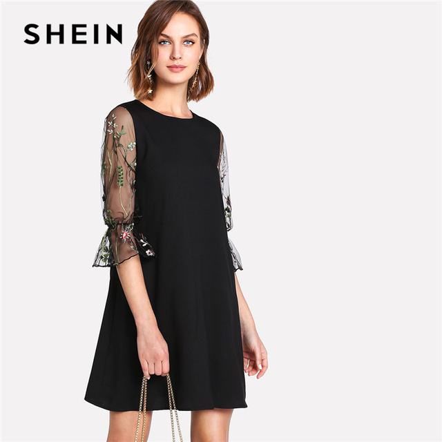 58bd75d1a0 SHEIN Botanical Black Embroidery Mesh Dress Women Round Neck Flare Sleeve  Casual Dress 2018 Spring 3