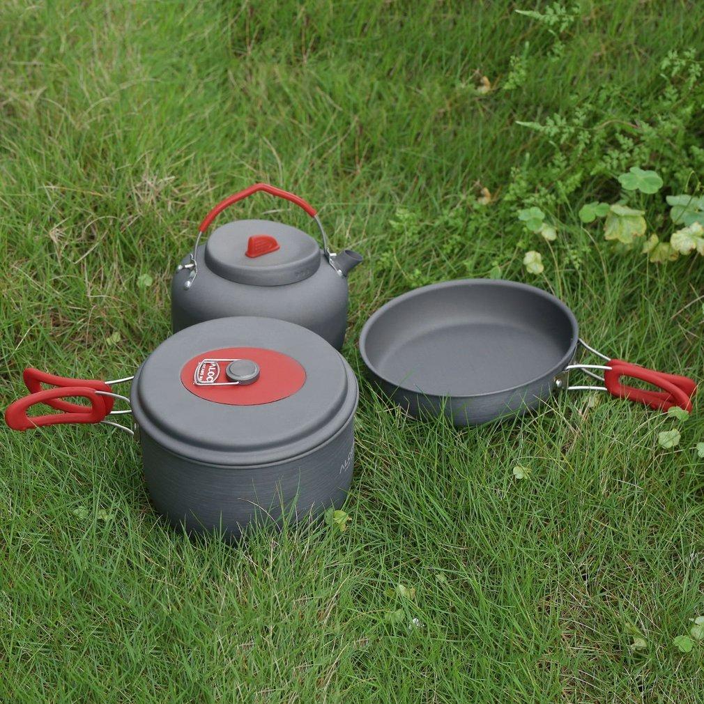Image 3 - 2019 антипригарная алюминиевая посуда для кемпинга ALOCS ультралегкое приготовление пищи на пикнике на улице чайник для посуды для 2 3 человек-in Столовые приборы для пикника from Спорт и развлечения