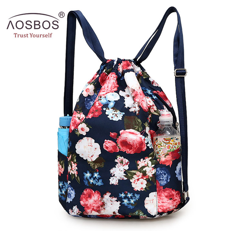 Aosbos Flower Drawstring Backpack Women Fitness Outdoor Training Gym Bag Waterproof Beach Bags 2019 Oxford Drawstring Bag