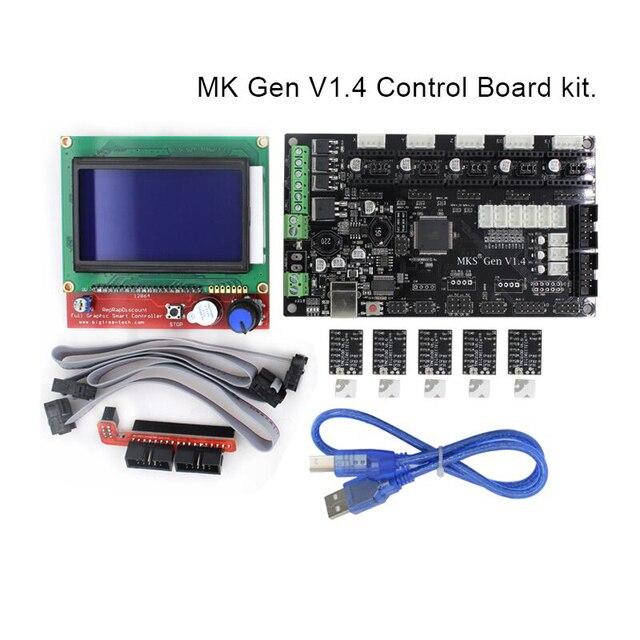 1 Conjunto BIQU MKS Gen V1.4 3D kit de impressora com MKS Gen V1.4 RepRap Motorista board + 5 PCS TMC2100/DRV8825/A4988 + 12864 LCD Gráfico