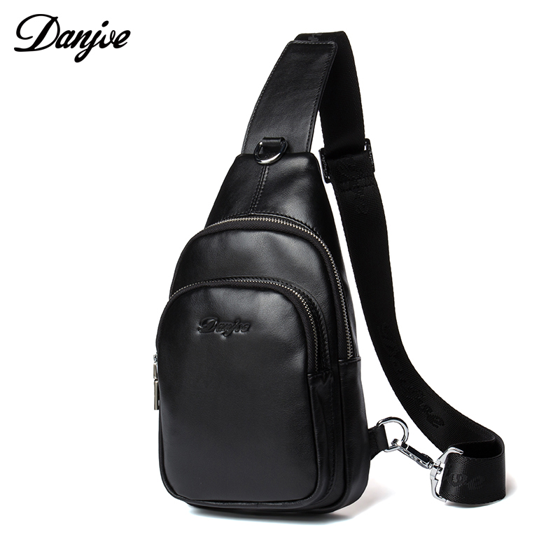DANJUE Genuine Leather Chest Bags For Men Waterproof Shoulder Crossbody Bag Fashion Casual Chest Packs Double Zipper Pockets