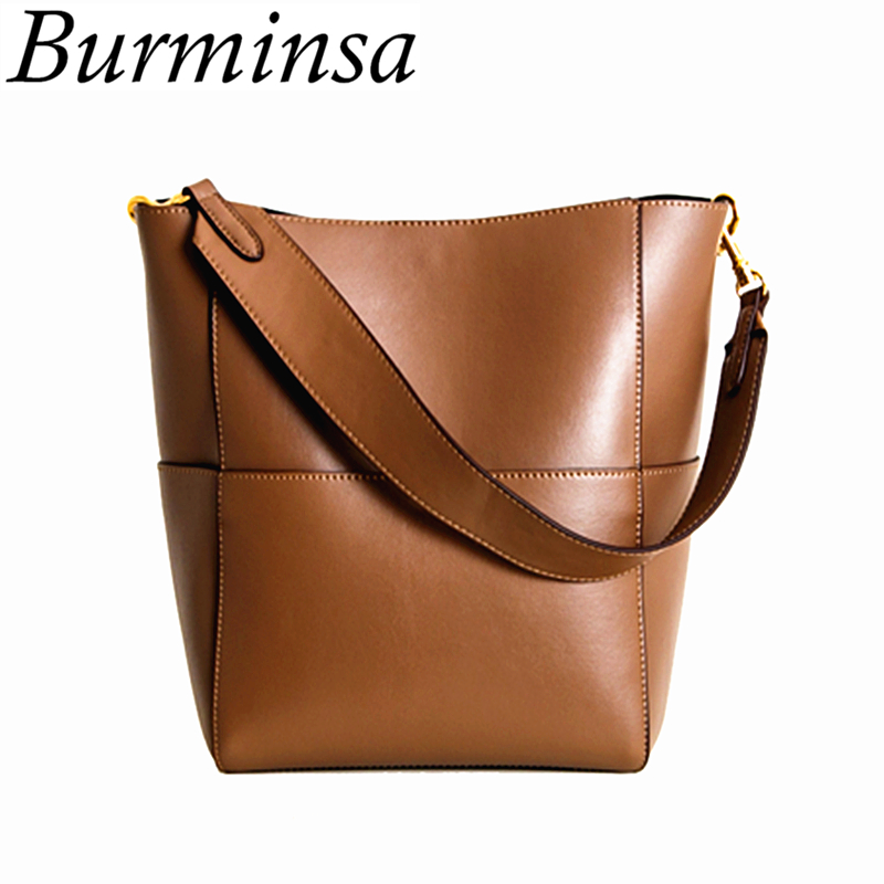 Burminsa Wide Strap Bucket Bags Women PU Leather Large Designer Handbags High Quality Causal Tote Ladies Shoulder Messenger Bags nnew fashion women shoulder bags casual tote messenger bags famous designer pu leather high quality ladies handbags tfd171