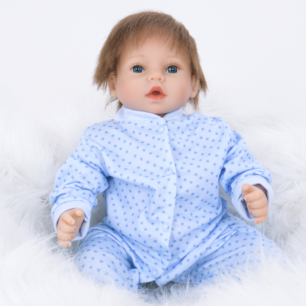 22 55CM Curved Hair Baby Dolls Cloth Body Reborn Doll Action Figure Toys Kids Bedtime Player22 55CM Curved Hair Baby Dolls Cloth Body Reborn Doll Action Figure Toys Kids Bedtime Player