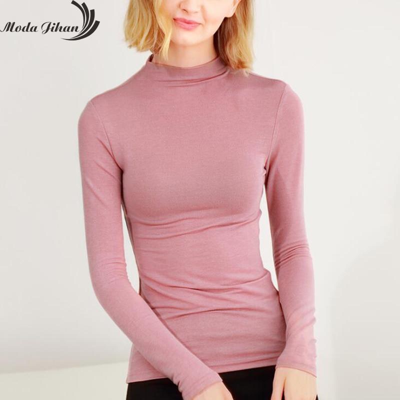 Moda Jihan Femmes T-shirt Tops 2018 Nouveau Coton Col Roulé À Manches Longues Mince Femelle T Chemises Base T-shirts Creux De Base T-shirts