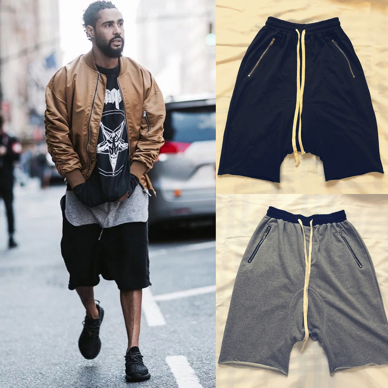 19ss Kanye West Justin Bieber Shorts Men Women Best Quality Summer Loose Sports Five-point Short Streetwear Kanye West Shorts