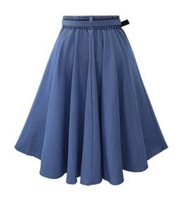 Image 2 - 2019 Autumn Winter Fashion Women Skirt Vintage Retro High Waist Pleated Midi Skirt Denim Flared Belt Skirt Saia Femininas SK098