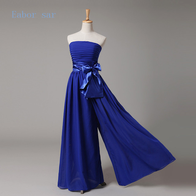 Blue Chiffon Dress Late Evening Pants Bandage Beautiful Combination Of Bow Waist Coat