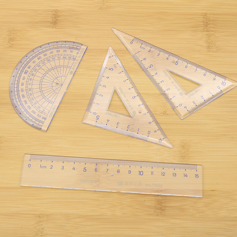 4 Piece Ruler 15cm Square Plate Length 10cm And Protractor Office And School Supplies Drawing Kit