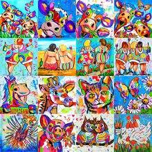 Color Painting 5D Diy Daimond Full Drill Rhinestones tous Animal Diamond Embroidery Fashion Fat Women Diamant Mosaic