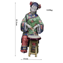 Hand Painted Fine Ceramic Ornaments Female Characters Office Crafts Drum Figurine Sculpture Chinese Style все цены