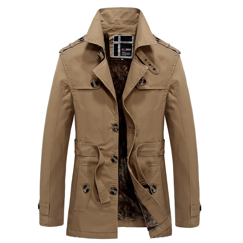 New Casual Medium Long Velet Lining Veste Longue Homme Good Quality Thick Warm With Belt Men Trench Coat Winter