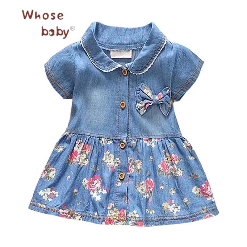 Baby Dress Girls Denim Summer Vestido Infantil Cotton Bow Clothing Flower Print Baby Dresses For ...