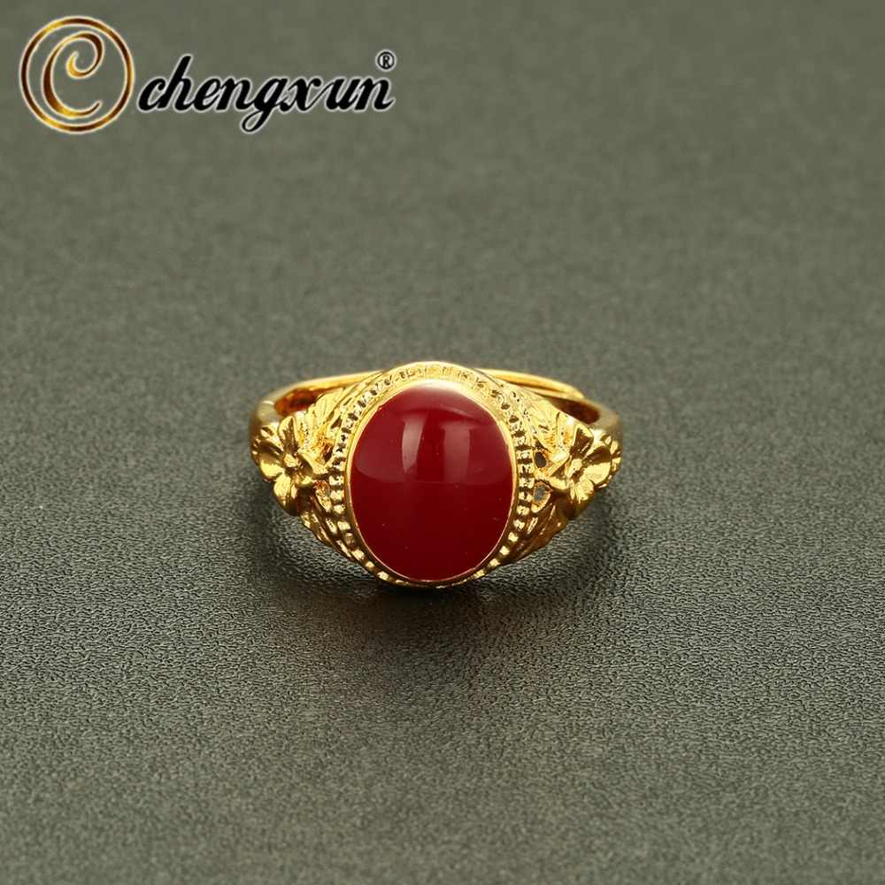 CHENGXUN Gold Large Oval Statement Ring Inlaid with Colorful Enamel Rings for Women Men Jewelry Party Decoration