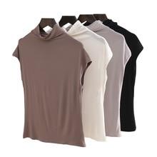 women fashion Summer Basic solid sleeveless T-shirt autumn Tops Tees cotton turtleneck t shirt camisetas mujer D122
