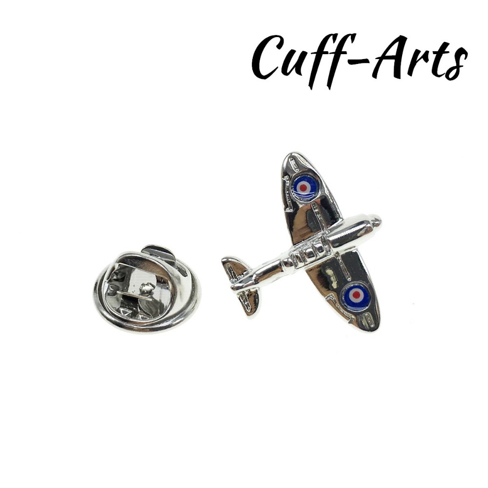Lapel Pin For Men Spitfire Aeroplane Badge Fashion Jewelry Matched Cufflinks Lapel Pin With Gift Box By Cuffarts P10049