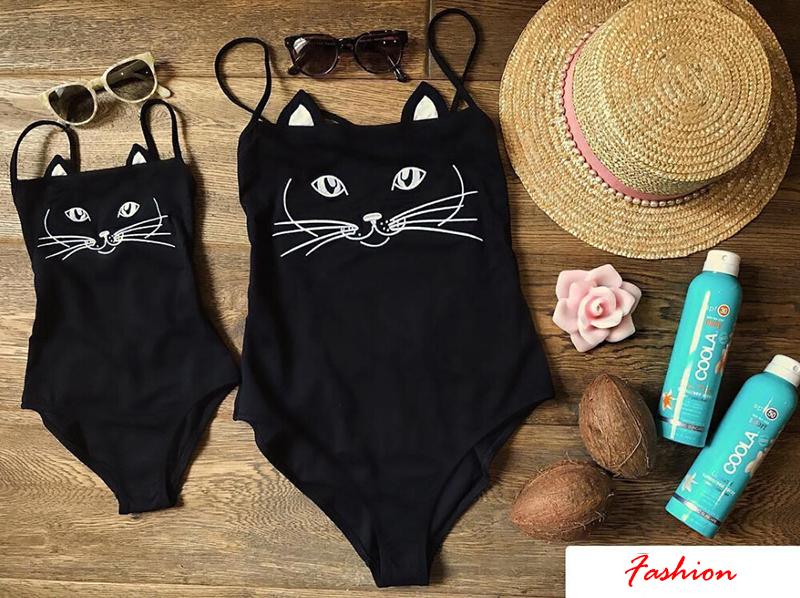 Купальник для мамы и дочки, женский, детский, для девочек, с милым котом, Цельный купальник, купальный костюм, бикини, пляжная одежда 16