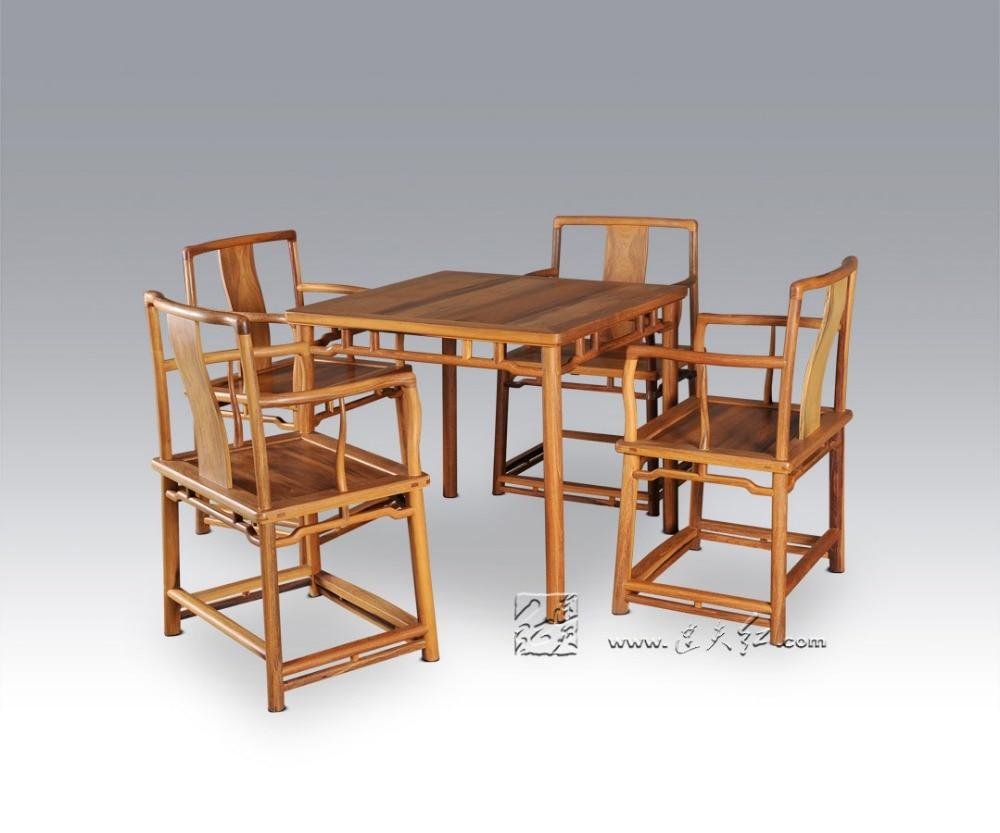 1 Tisch + 4 Stuhl Esszimmer Wohnzimmer Set Redwood Mahagoni Möbel China Retro Palisander Schreibtisch Und Massivholz Zurück Sessel Holz