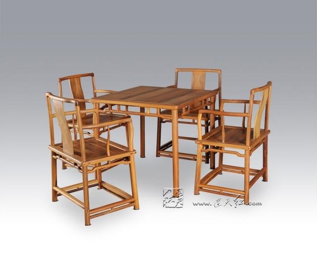 Elegant 1 Tisch + 4 Stuhl Esszimmer Wohnzimmer Set Redwood Mahagoni Möbel China  Retro Palisander Schreibtisch Und