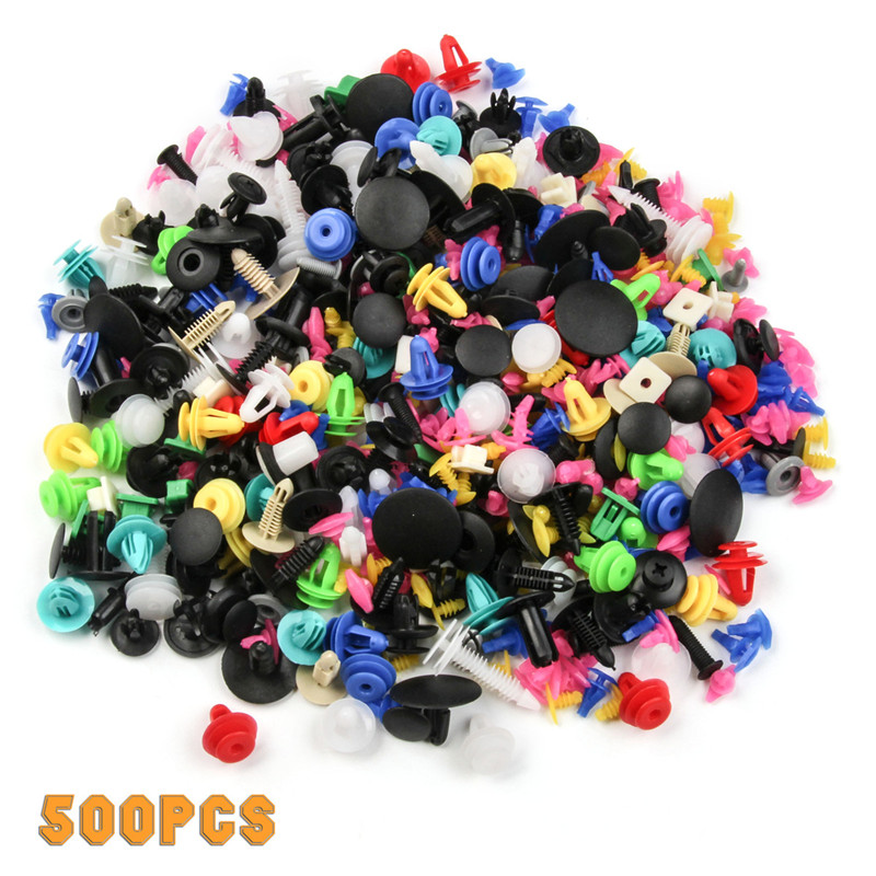 500PCS Universal Fasteners Door Trim Panel Auto Bumper Rivet Car Clips Retainer Push Engine Cover Fender Fastener Clips universal car door panel plastic snap push pins fasteners clips black 20 pcs